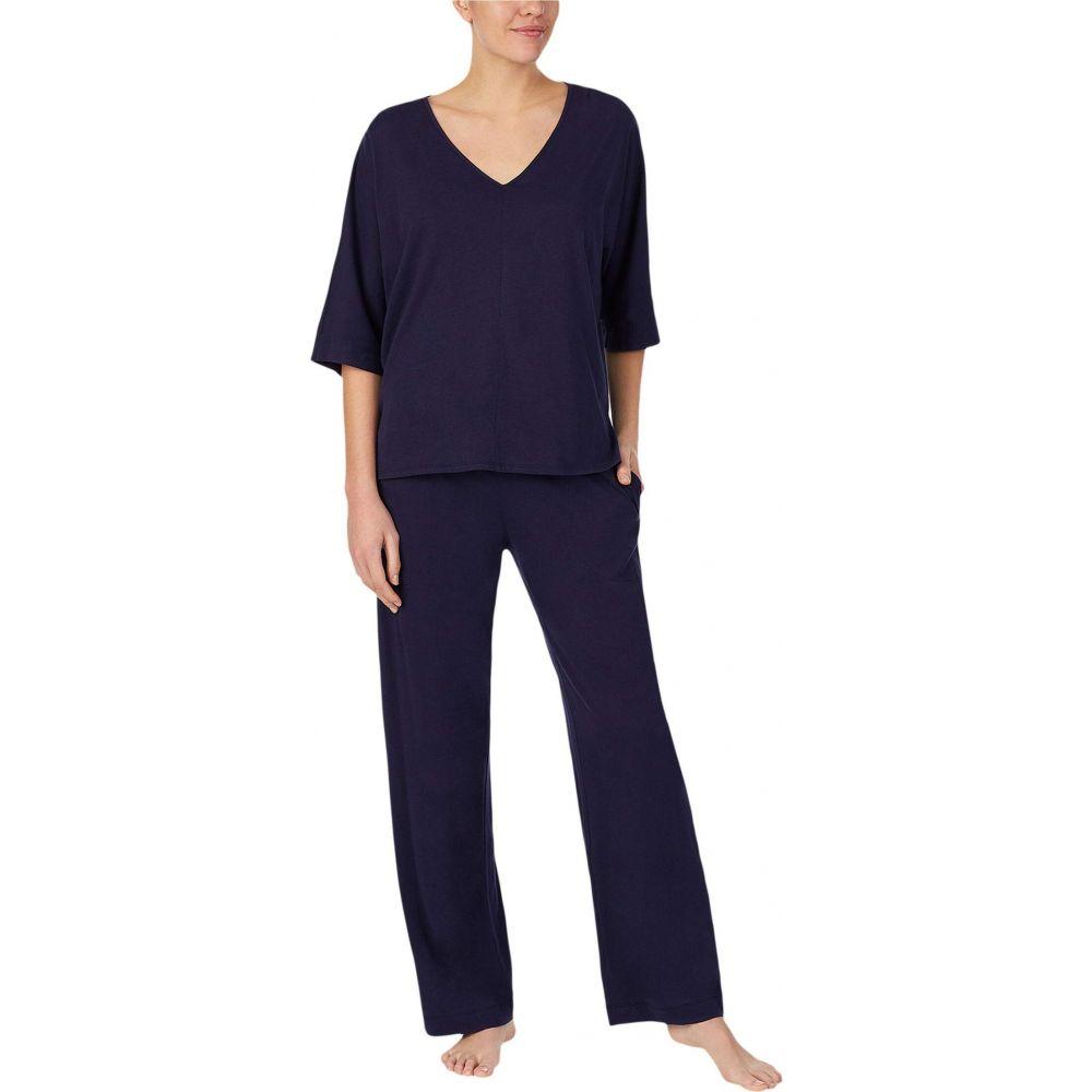 ダナ キャラン ニューヨーク Donna Karan レディース パジャマ・上下セット Vネック インナー・下着【Cotton Jersey V-Neck Pajama Set】Ink