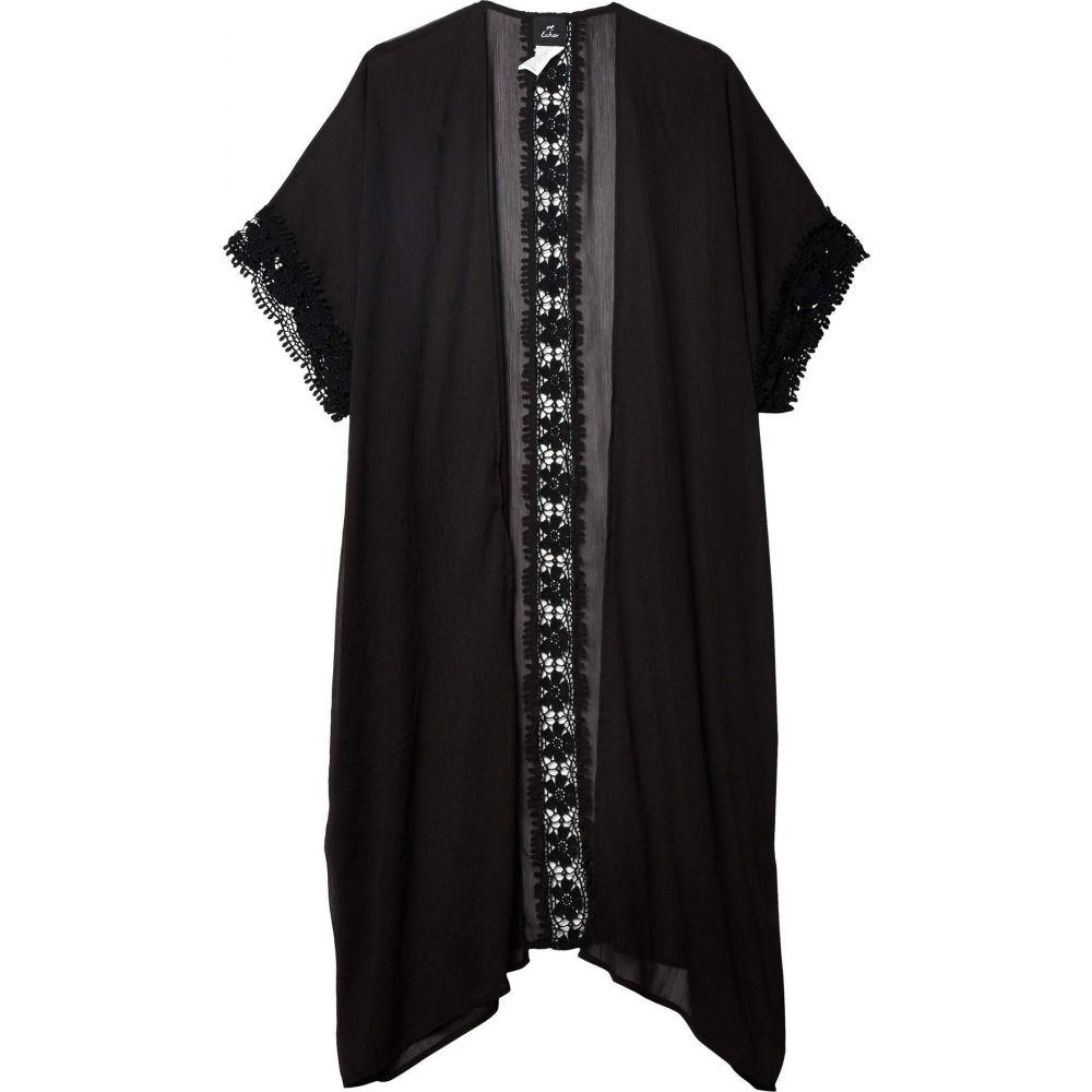 エコーニューヨーク Echo New York レディース トップス 【Solid Chiffon Kimono with Lace】Black