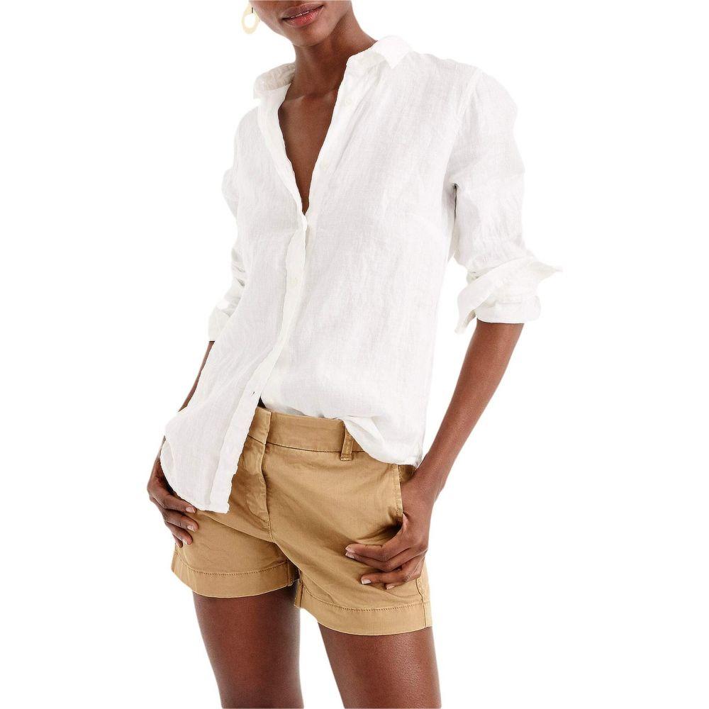 ジェイクルー J.Crew レディース ブラウス・シャツ トップス【Slim Perfect Shirt in Irish Linen】White