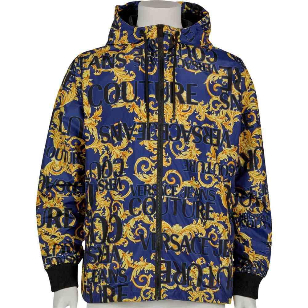 ヴェルサーチ Versace Jeans Couture メンズ ジャケット アウター【Logo Baroque Printed Nylon Jacket】Blue/Gold