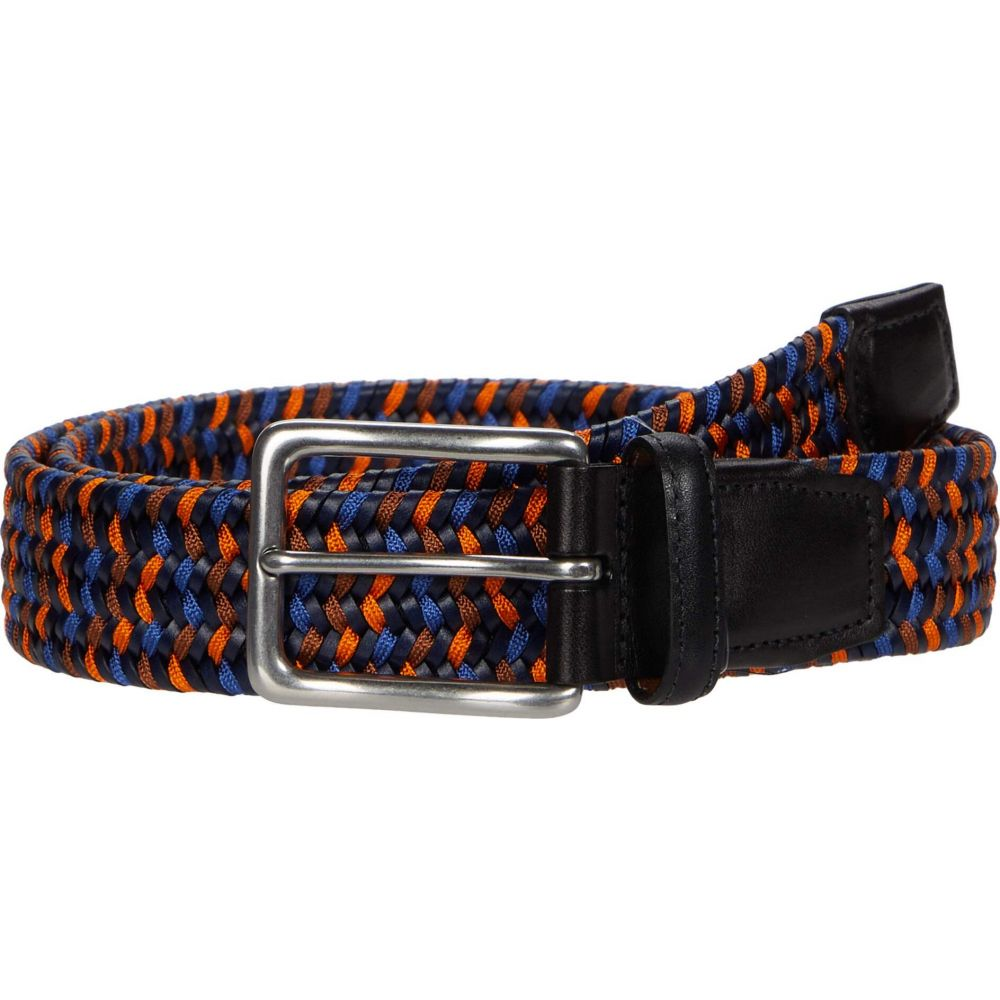 トリノレザー Torino Leather Co. メンズ ベルト 【35 mm Italian Woven Leather & Rayon Stretch】Navy/Blue/Orange
