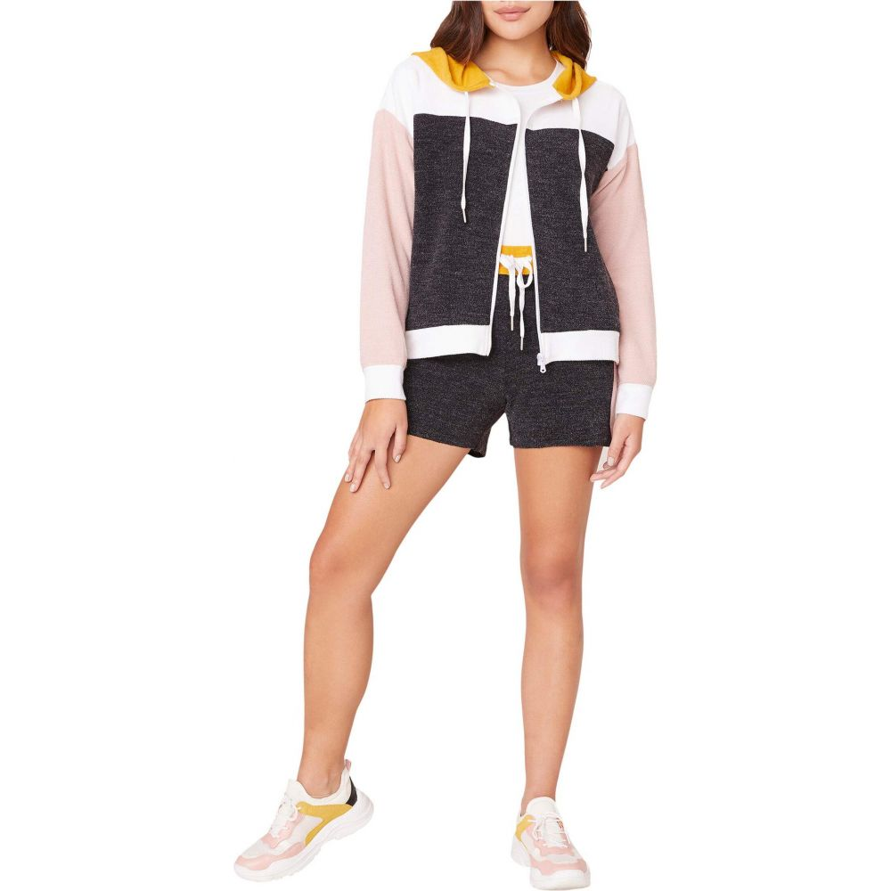 ビービーダコタ BB Dakota レディース パーカー トップス【Fast Break French Terry Color-Block Zip-Up Hoodie】Black