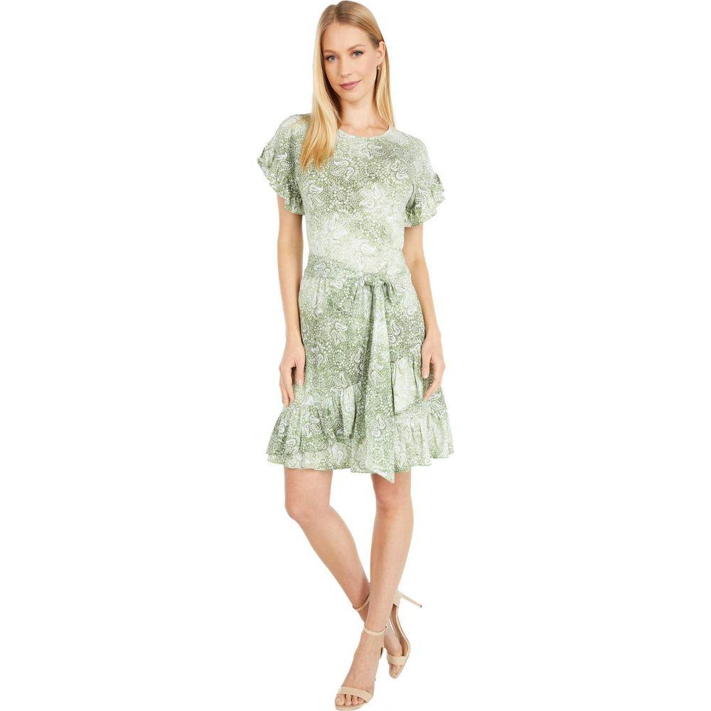 マイケル コース MICHAEL Michael Kors レディース ワンピース ラップドレス ワンピース・ドレス【Paisley Ruffle Wrap Dress】Army Green