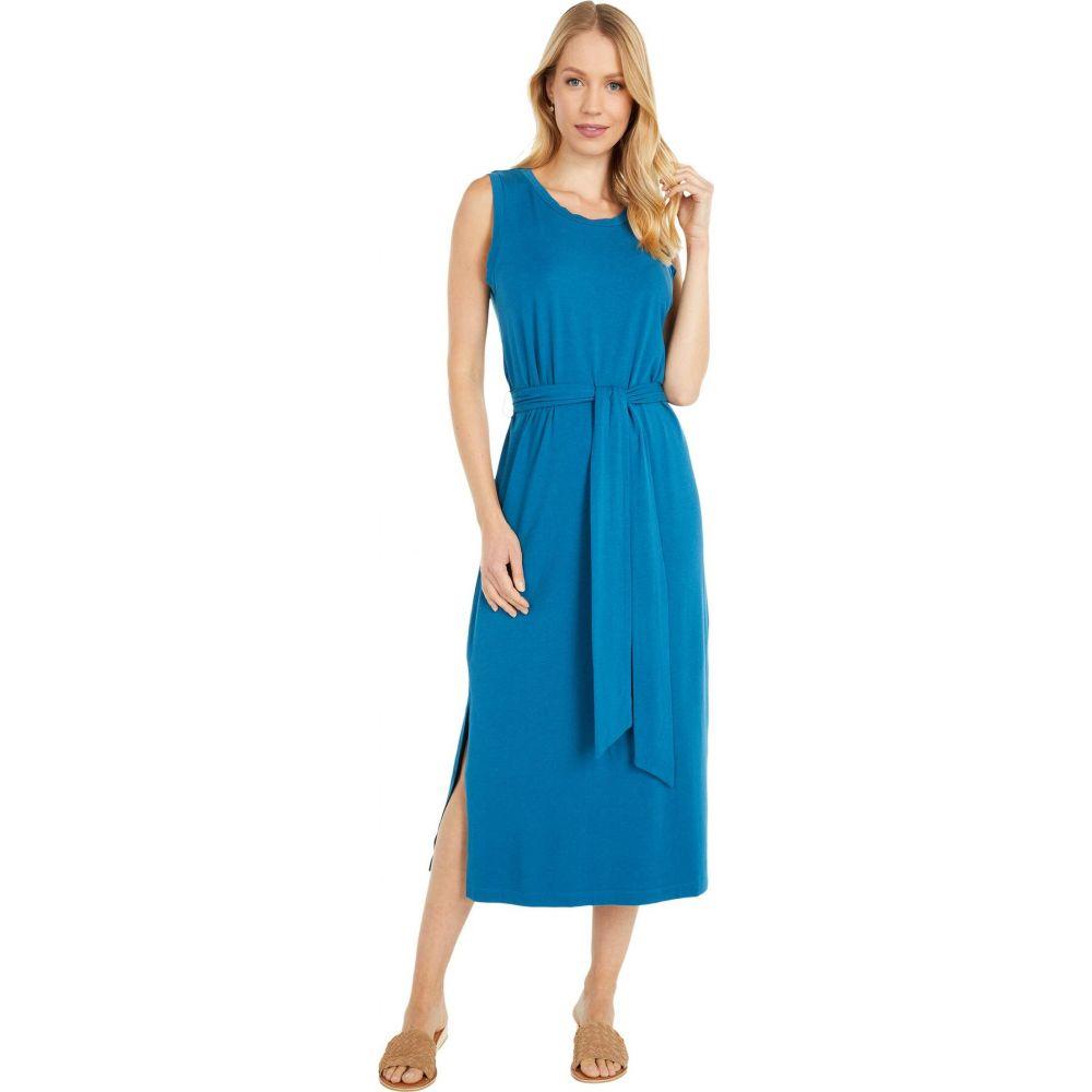 モドオードック Mod-o-doc レディース ワンピース タンクドレス ワンピース・ドレス【Cotton Modal Spandex Jersey Belted Tank Dress with Side Slits】Oceano