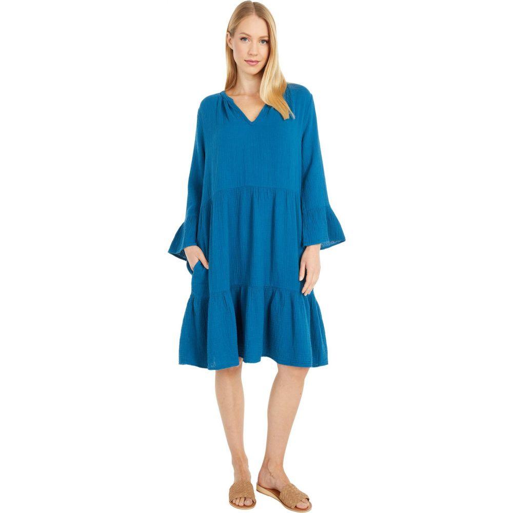 モドオードック Mod-o-doc レディース ワンピース ワンピース・ドレス【Double Layer Gauze Mandarin Collar Dress with Ruffle Hem】Oceano