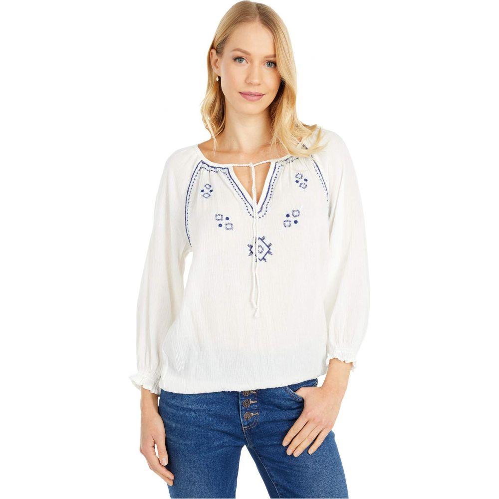 ラッキーブランド Lucky Brand レディース ブラウス・シャツ トップス【Embroidered Peasant Top】Bright White