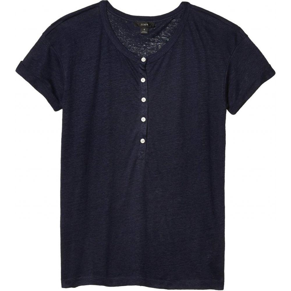 ジェイクルー J.Crew レディース Tシャツ ヘンリーシャツ トップス【Linen Roll Cuff Henley T-Shirt】Navy