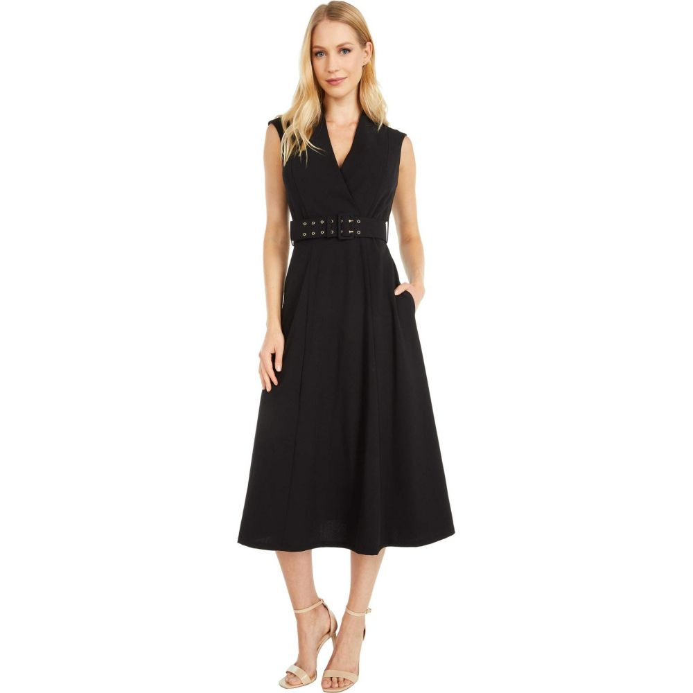 カルバンクライン Calvin Klein レディース ワンピース ミドル丈 ワンピース・ドレス【Belted Surplus Neck A-Line Midi Dress】Black