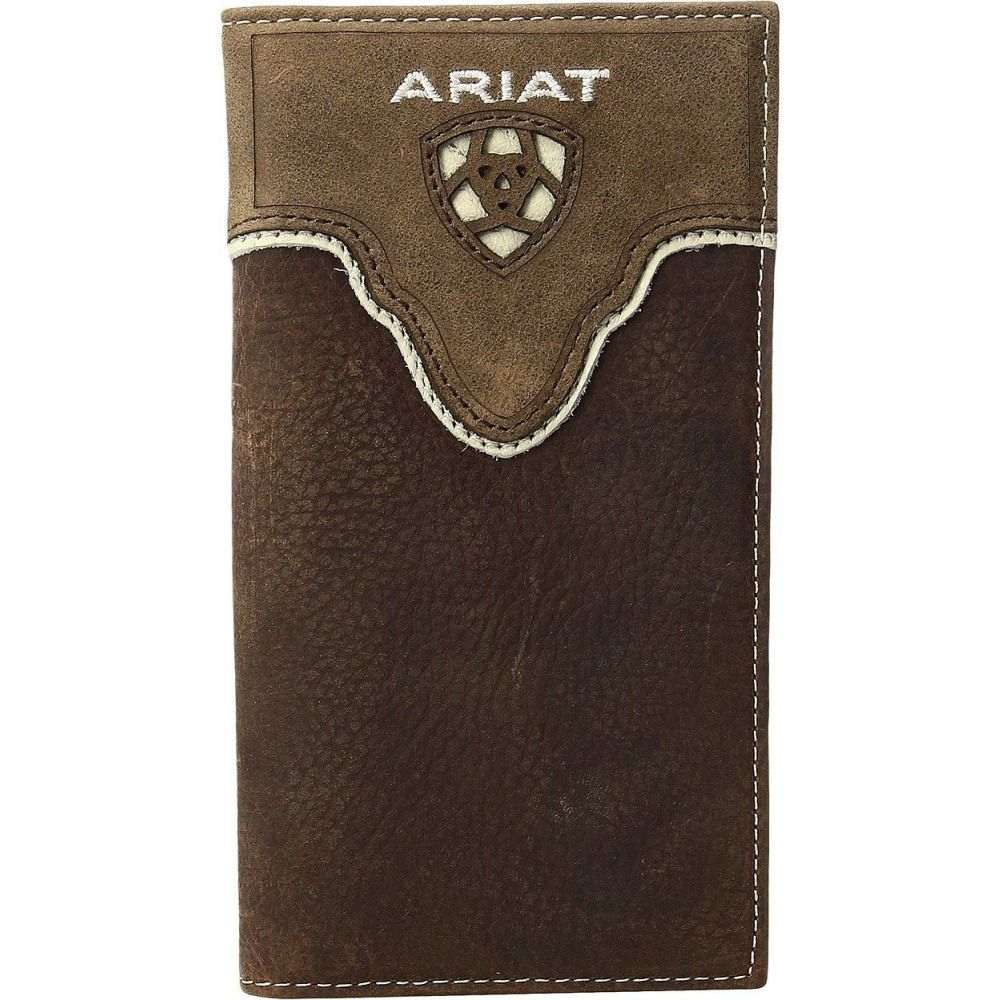 アリアト Ariat メンズ 財布 【Shield Cut Out Overlay Rodeo Wallet】Medium Brown Distressed/Ivory