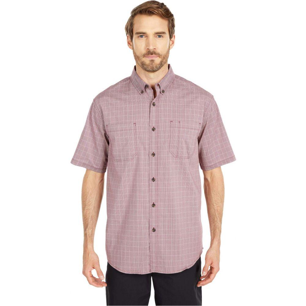 ディッキーズ Dickies メンズ 半袖シャツ トップス【Relaxed Fit Flex Short Sleeve Plaid Shirt】Wine Quail Grey Mini Check