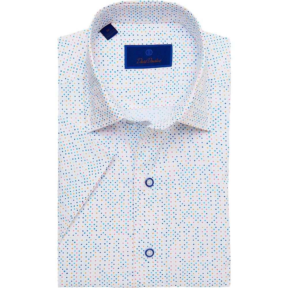 デビッドドナヒュー David Donahue メンズ 半袖シャツ トップス【Mutli Color Dot Short Sleeve Sport Shirt】White/Blue