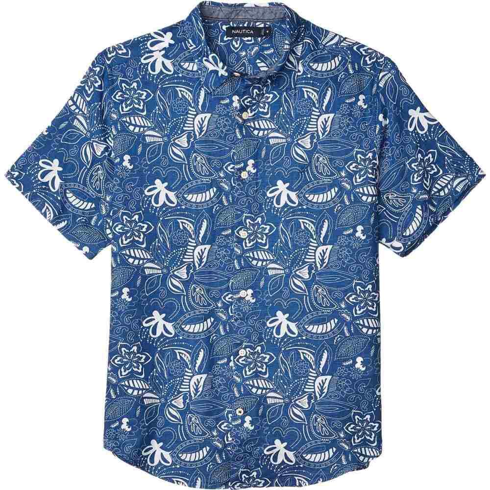 ノーティカ Nautica メンズ 半袖シャツ トップス【Short Sleeve Linen Print】Blue