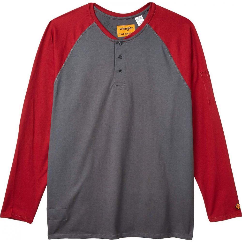 ラングラー Wrangler メンズ 長袖Tシャツ 大きいサイズ ヘンリーシャツ トップス【Big & Tall Flame-Resistant Long Sleeve Baseball Henley】Red