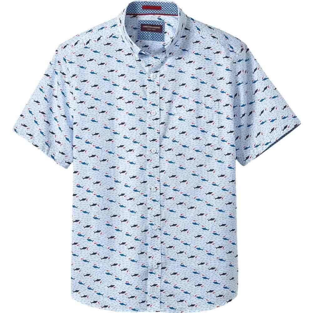 ジョンストン&マーフィー Johnston & Murphy メンズ 半袖シャツ トップス【Short Sleeve Shark Print】White