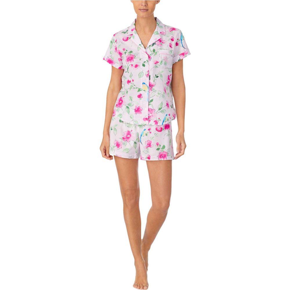ラルフ ローレン LAUREN Ralph Lauren レディース パジャマ・上下セット インナー・下着【Classic Wovens Short Sleeve Notch Collar Boxer Pajama Set】Pink Floral