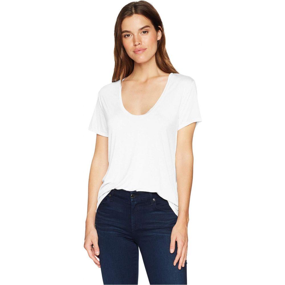 スプレンディッド Splendid レディース Tシャツ トップス【Sloane Short Sleeve Rayon Jersey Scoop Neck Tee】White