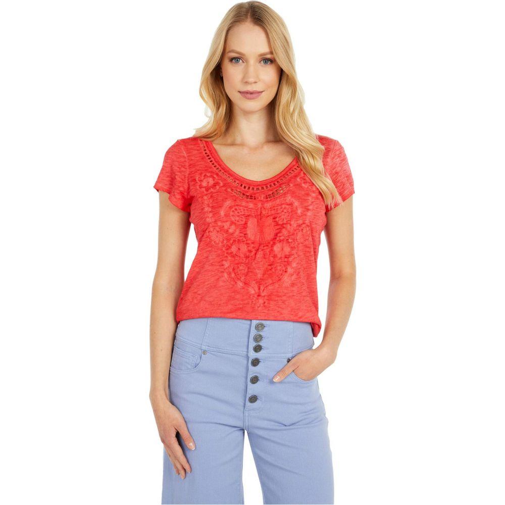 トリバル Tribal レディース Tシャツ トップス【Short Sleeve Embroidered Sweet Heart Top】Hot Coral