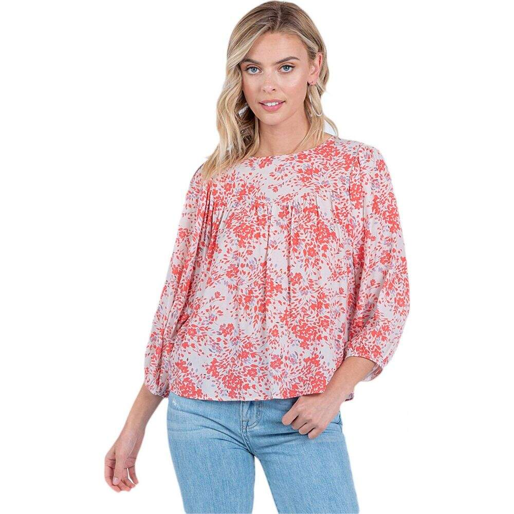 アメリカンローズ American Rose レディース トップス 七分袖【Frankie 3/4 Sleeve Floral Top】Coral