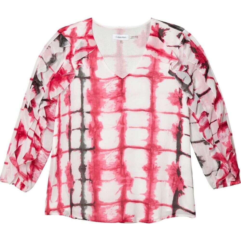 カルバンクライン Calvin Klein レディース ブラウス・シャツ Vネック トップス【Printed V-Neck Blouse w/ Double Ruffle Sleeve】White/Hibiscus