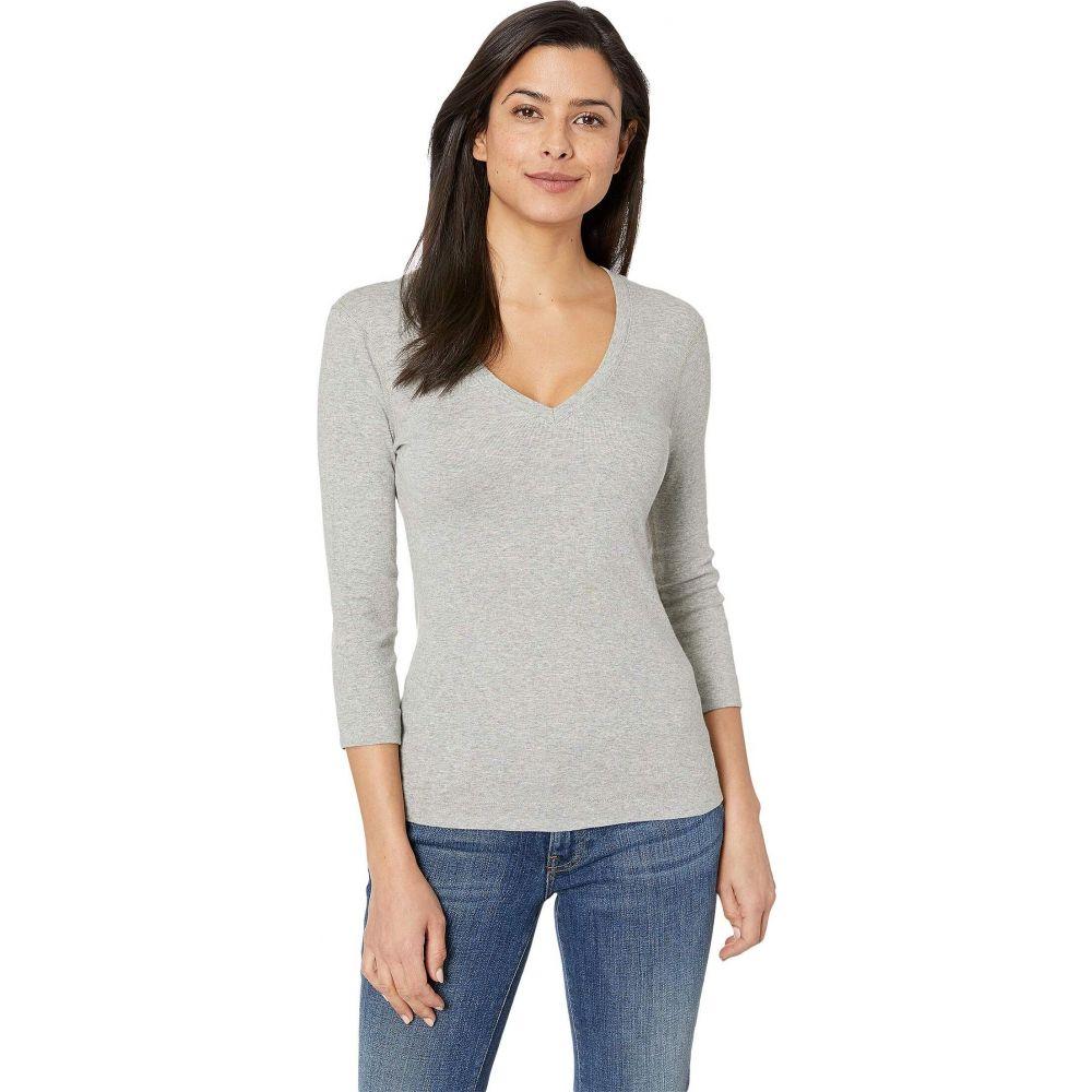 スリードッツ Three Dots レディース 長袖Tシャツ 七分袖 Vネック トップス【100% Cotton Heritage Knit 3/4 Sleeve Deep V-Neck】Granite
