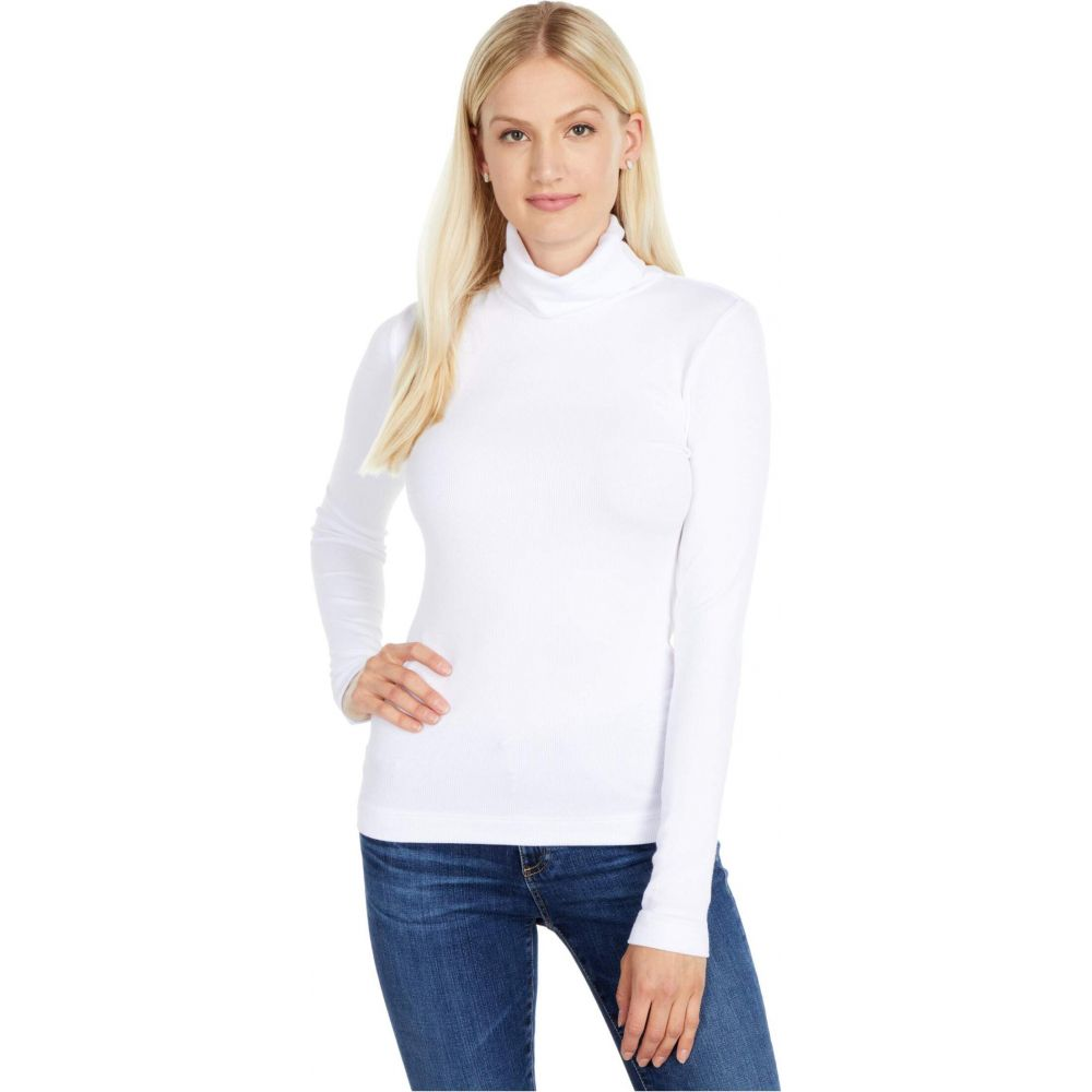 スリードッツ Three Dots レディース トップス 【Refined Rib L/S Turtleneck】White