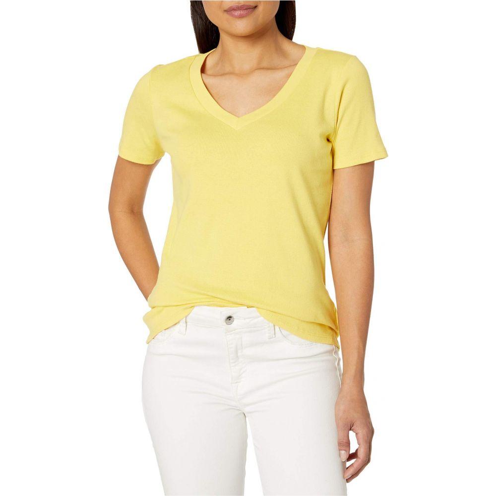 トリバル Tribal レディース Tシャツ Vネック トップス【Cotton Rib Short Sleeve V-Neck Top】Lemon