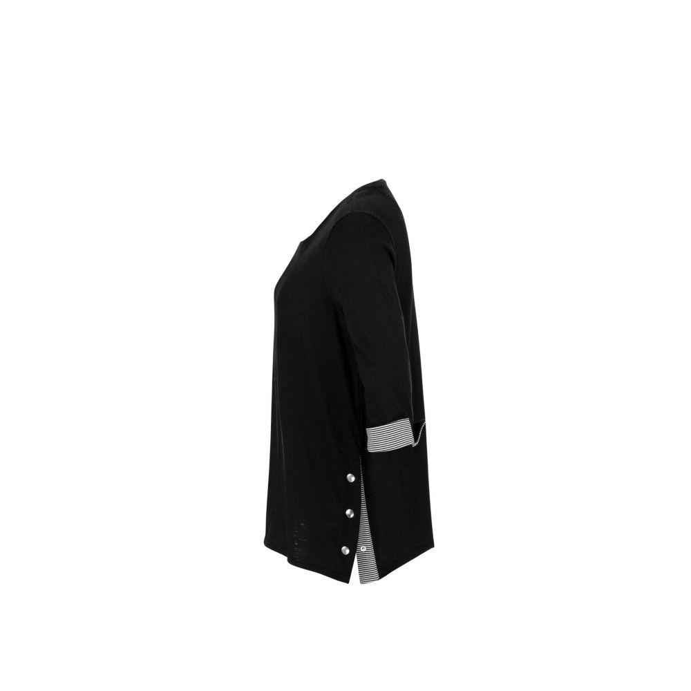 トリバル Tribal レディース 長袖Tシャツ 七分袖 トップス【3/4 Sleeve Crew Neck w/ Snaps】Black