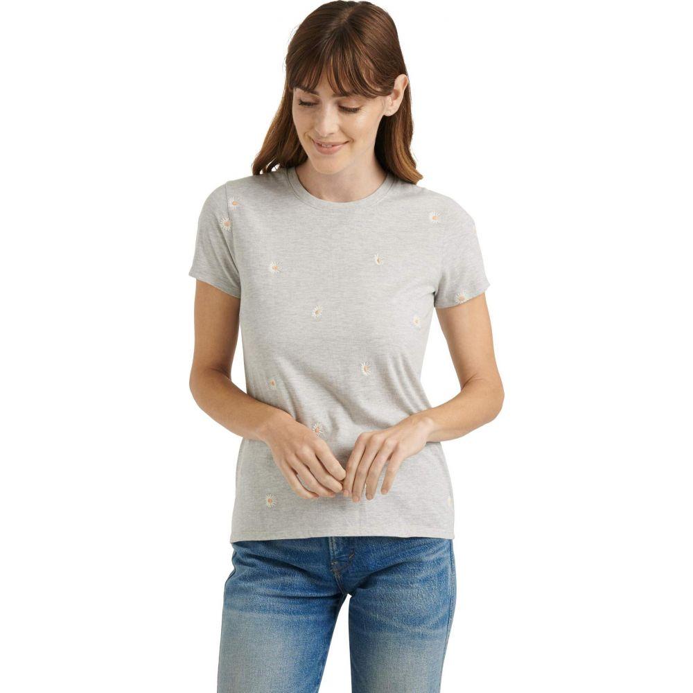 ラッキーブランド Lucky Brand レディース Tシャツ トップス【Short Sleeve Crew Neck Embroidered Daisy Tee】Heather Grey
