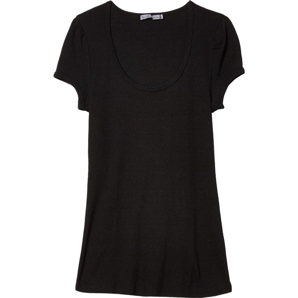 マイケルスターズ Michael Stars レディース Tシャツ トップス【Olympia Shine Scoop Neck Puff Sleeve Top】Black