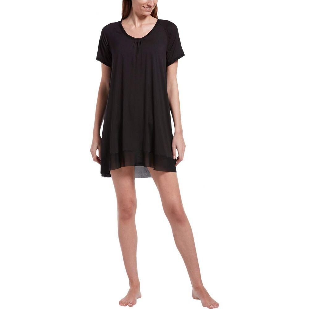 フエ HUE レディース パジャマ・トップのみ インナー・下着【Solid Short Sleeve Sleep Gown with Temp Tech】Black