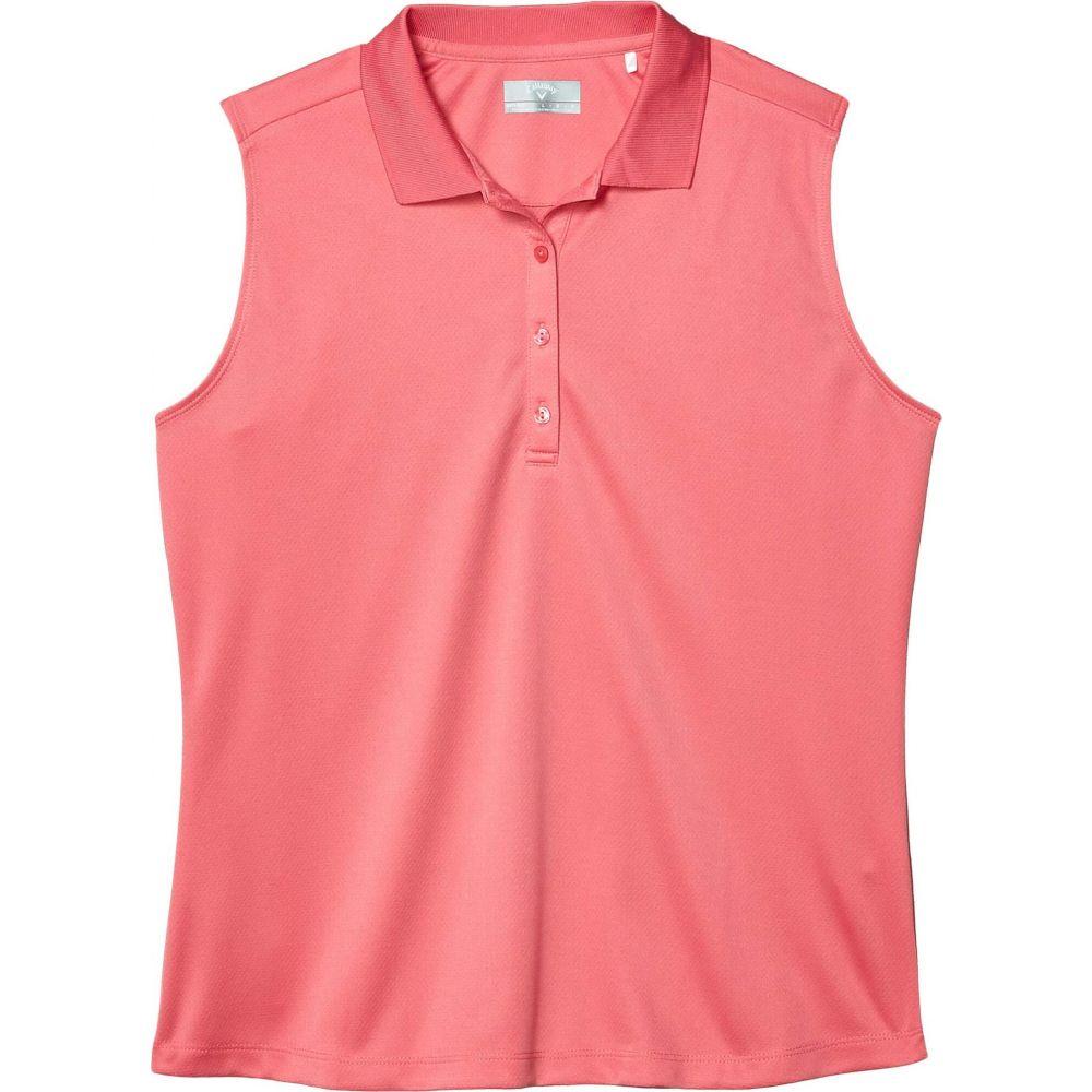 キャロウェイ Callaway レディース ノースリーブ ポロシャツ トップス【Sleeveless Essential Solid Knit Polo】Camellia Rose