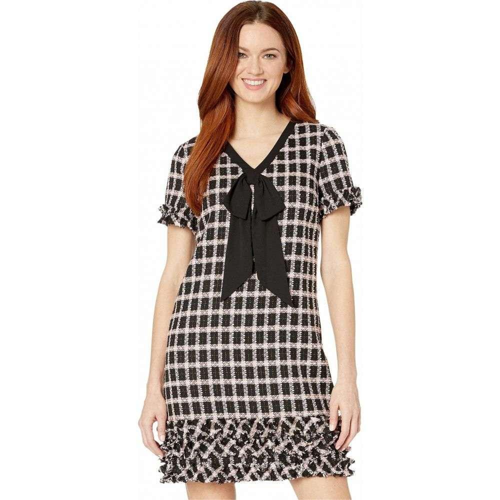 シーシー CeCe レディース ワンピース Vネック ワンピース・ドレス【Short Sleeve V-Neck Grid Tweed Dress with Tie】Rich Black
