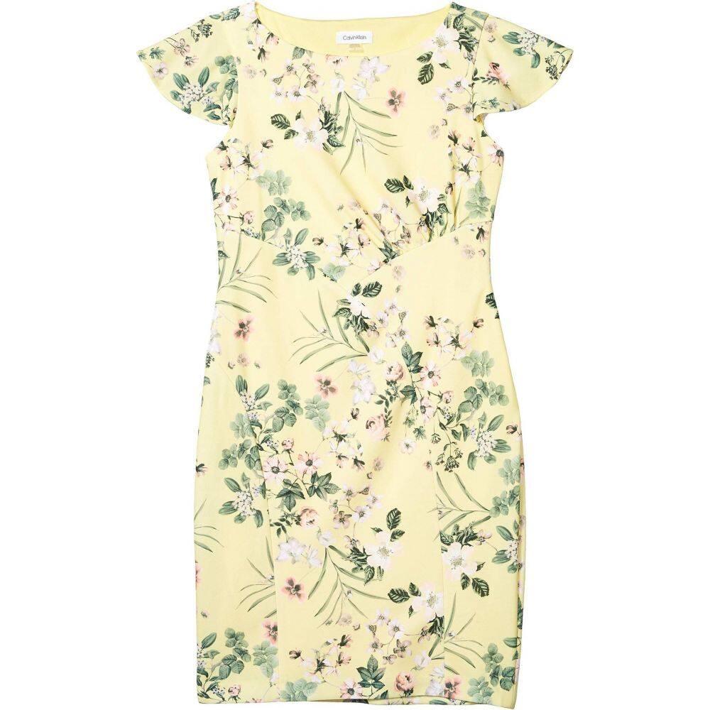 カルバンクライン Calvin Klein レディース ワンピース ワンピース・ドレス【Floral Flutter Sleeve Sheath Dress】Popcorn Multi