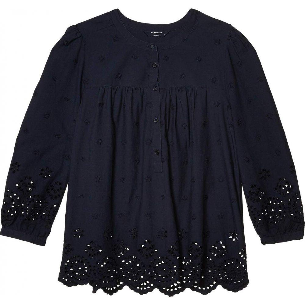 ラッキーブランド Lucky Brand レディース ブラウス・シャツ 七分袖 トップス【3/4 Sleeve Button Neck Rebecca Eyelet Popover Top】Dark Sapphire