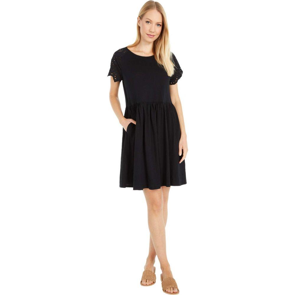 モドオードック Mod-o-doc レディース ワンピース ワンピース・ドレス【Slub Jersey Short Dress with Eyelet Sleeves】Black