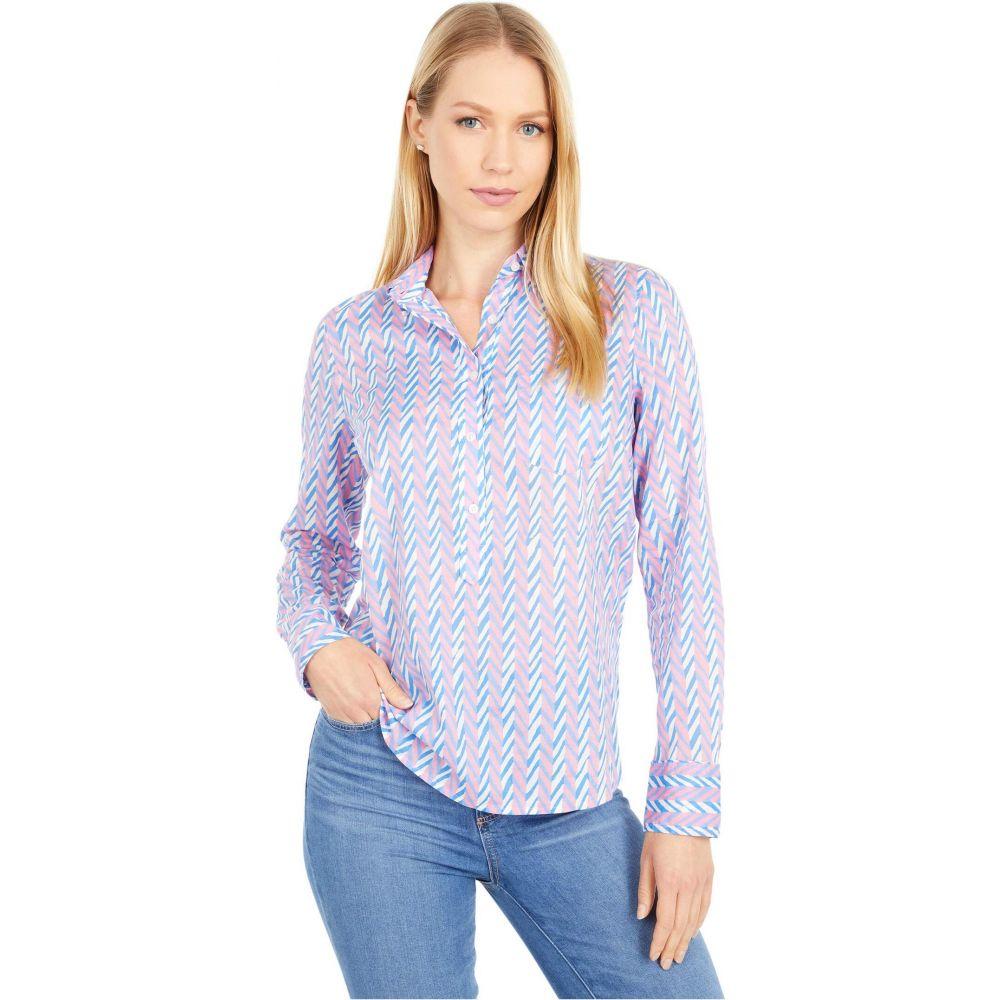 ジェイクルー J.Crew レディース ブラウス・シャツ トップス【Classic Popover Shirt in Field Day Chevron】White/Pink/Blue