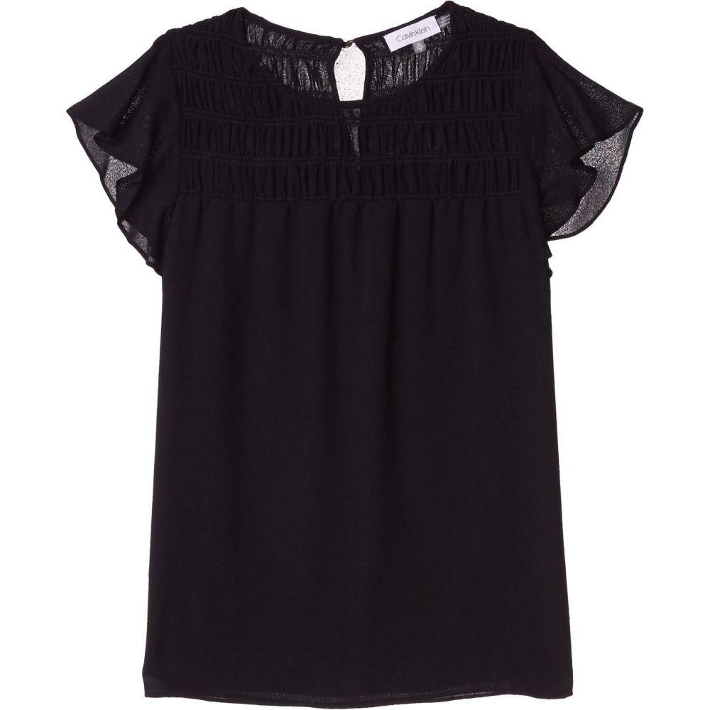 カルバンクライン Calvin Klein レディース ブラウス・シャツ トップス【Smocked Yoke Blouse w/ Ruffle Sleeve】Black