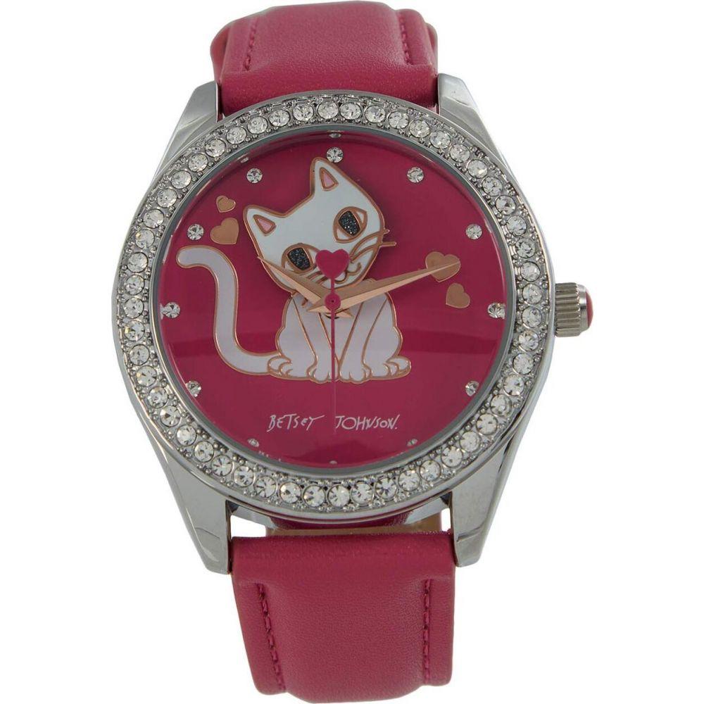 ベッツィ ジョンソン Betsey Johnson レディース 腕時計 【Bauble Kitty Watch】Pink/Silver