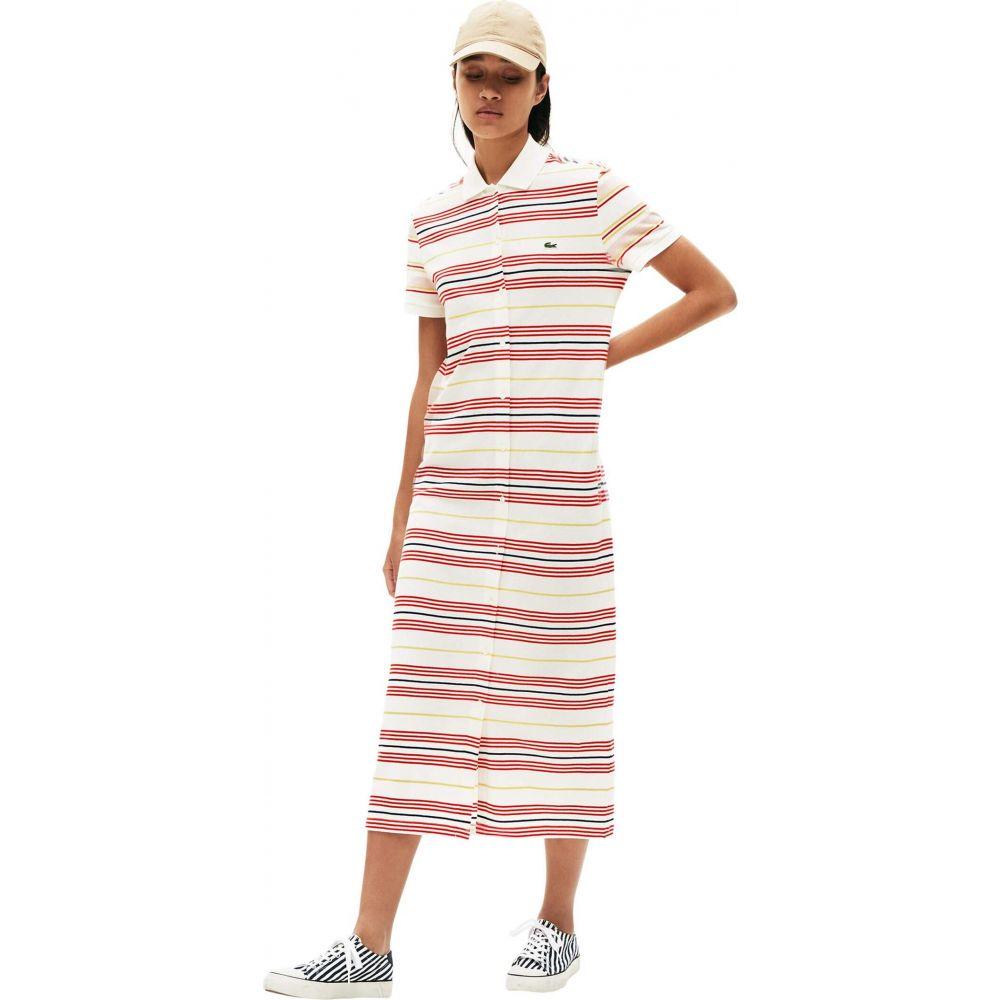 ラコステ Lacoste レディース ワンピース ワンピース・ドレス【Short Sleeve Stripe Button Through Pique Maxi Dress】Flour/Corrida/Daba/Methyl