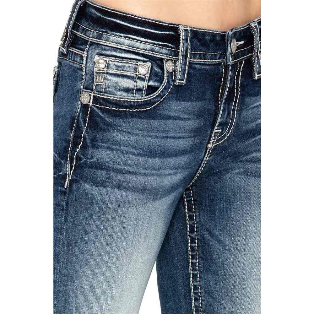 ミス ミー Miss Me レディース ジーンズ・デニム ブーツカット ボトムス・パンツ【Fleur De Lis Bootcut Jeans in Dark Blue】Dark Blue