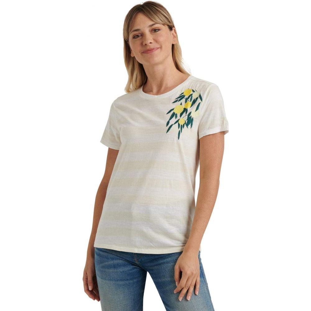 ラッキーブランド Lucky Brand レディース Tシャツ トップス【Short Sleeve Crew Neck Embroidered Lemon Tee】Oatmeal Heather