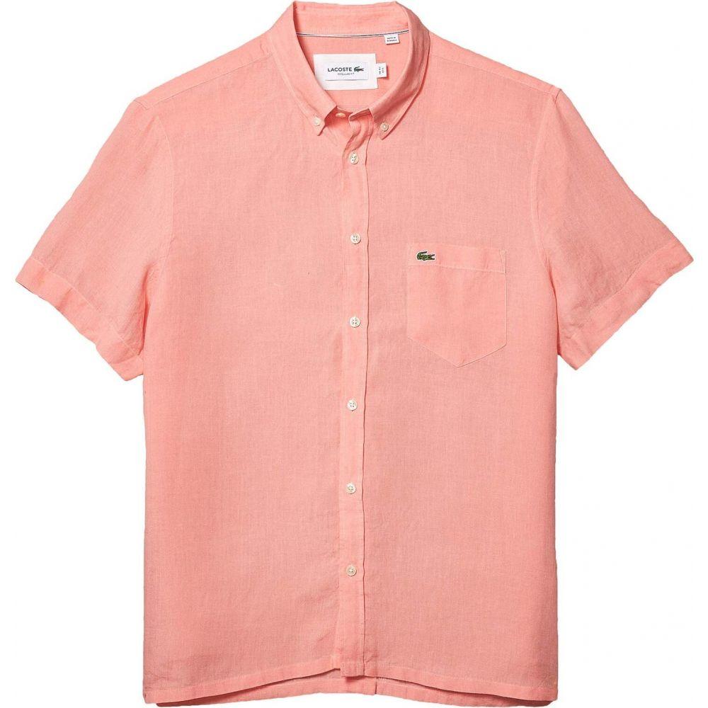 ラコステ Lacoste メンズ 半袖シャツ トップス【Short Sleeve Solid Linen Button Down Collar Regular】Elf Pink