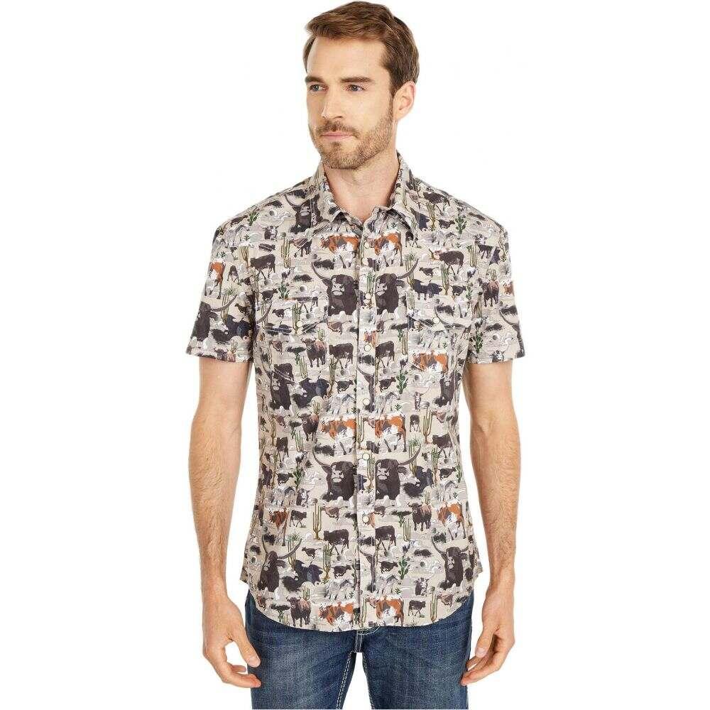 ロックアンドロールカウボーイ Rock and Roll Cowboy メンズ 半袖シャツ トップス【Dale Brisby Short Sleeve All Over Bull Print Snap Shirt B1S5109】Tan