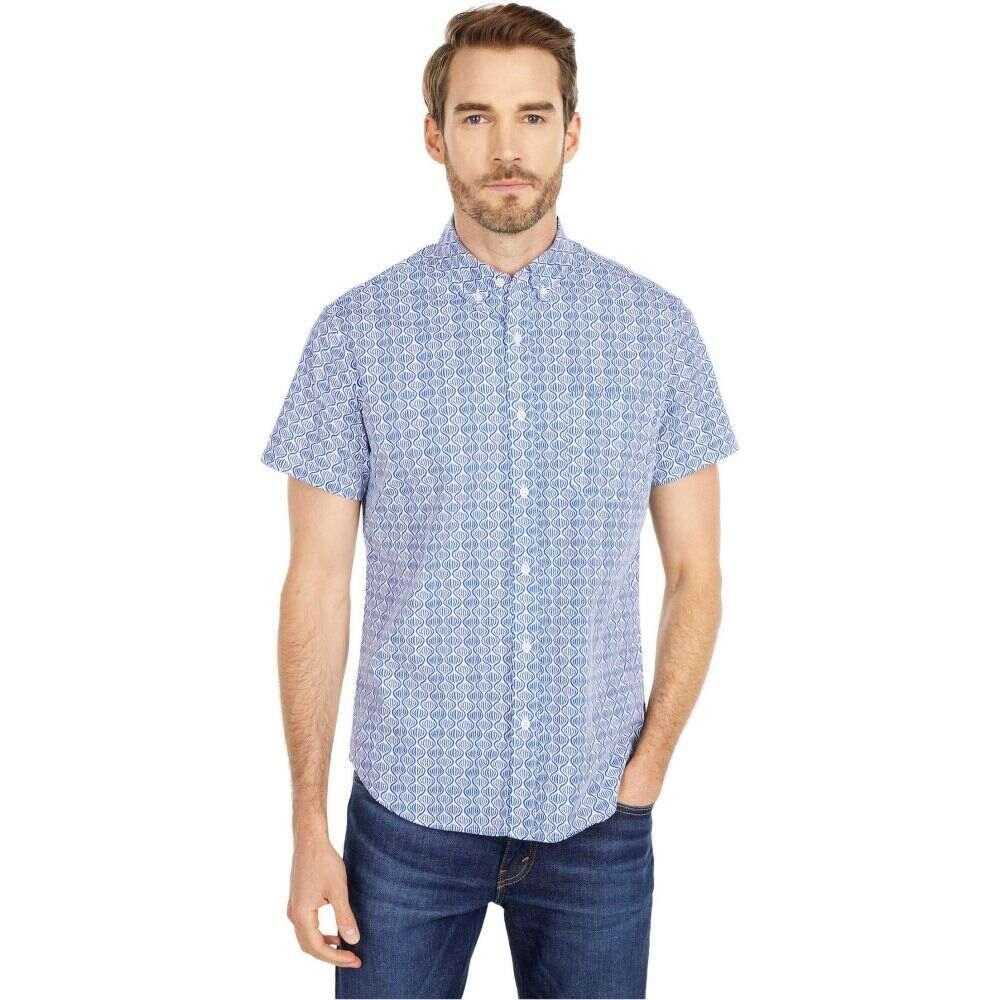 ジェイクルー J.Crew メンズ 半袖シャツ トップス【Organic Stretch Short Sleeve Secret Wash Shirt in Malo Blue】Malo Blue White