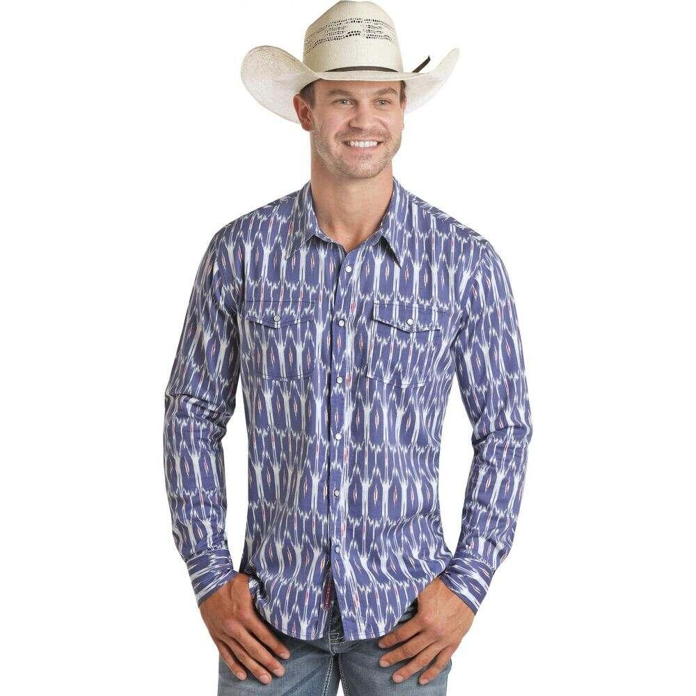 ロックアンドロールカウボーイ Rock and Roll Cowboy メンズ シャツ トップス【Long Sleeve Ikat Print Snap Shirt B2S4061】Blue