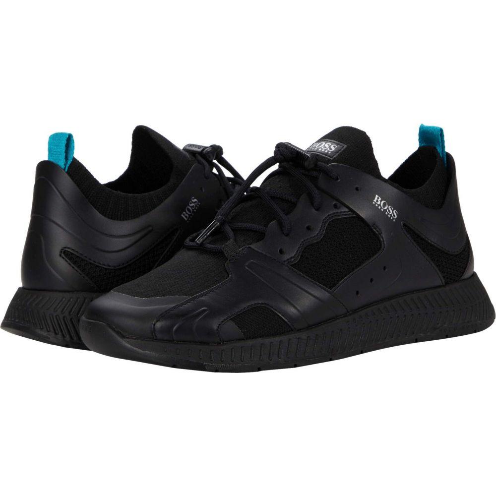ヒューゴ ボス BOSS Hugo Boss メンズ スニーカー シューズ 靴 Titanium Runn Sneakers Black お見舞 開店祝 一番売れた***