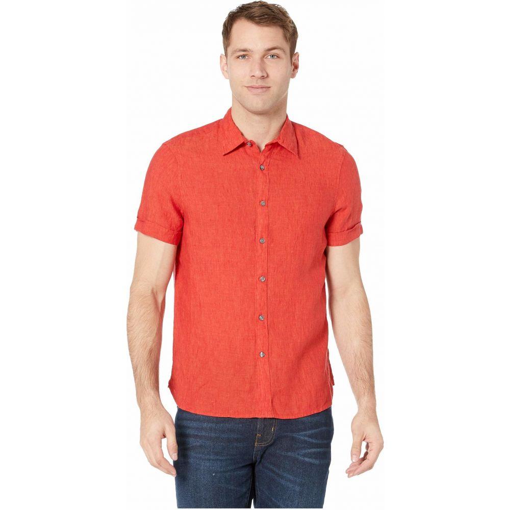ペリー エリス Perry Ellis メンズ 半袖シャツ トップス【Short Sleeve Solid Linen Shirt】Haute Red