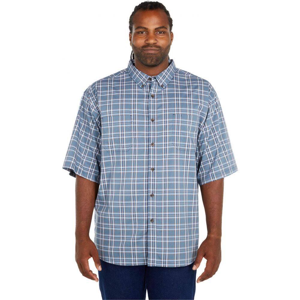 ディッキーズ Dickies メンズ 半袖シャツ 大きいサイズ トップス【Big & Tall Relaxed Fit Flex Short Sleeve Plaid Shirt】Dusty Blue Navy Plaid