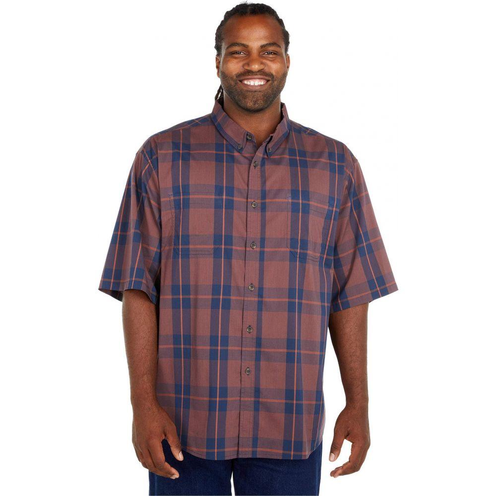 ディッキーズ Dickies メンズ 半袖シャツ 大きいサイズ トップス【Big & Tall Relaxed Fit Flex Short Sleeve Plaid Shirt】Navy Spice/Brown Plaid