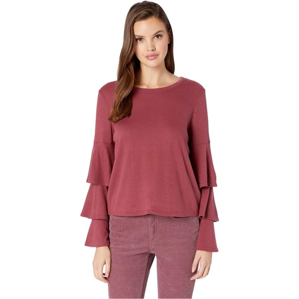 ビービーダコタ BB Dakota レディース トップス 【Wax Poetic Brushed Knit Tiered Sleeve Top】Burgundy